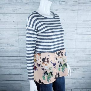 Anthropologie Tops - Postmark by Anthro Ginny Sweater Floral Hem Sz S